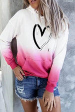 Sweety Heart Shaped Gradient Print Drawstring Pocket Front Shift Hoodie
