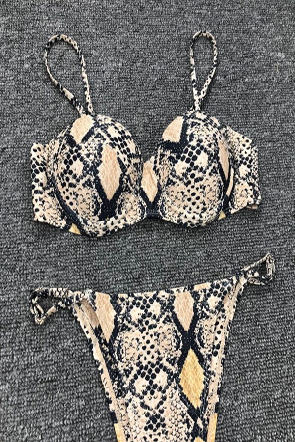 Sexy Serpentine Print Spaghetti Top With Triangle Underpants Beach Two Pieces Set