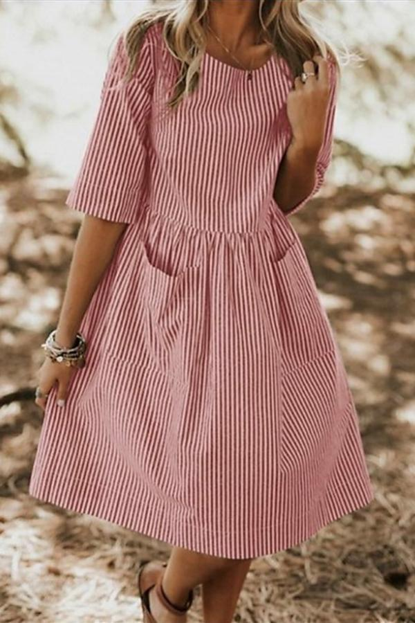 Side Pockets Striped Linen Midi Dress