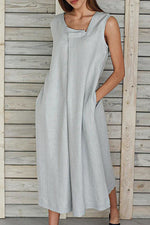 Solid Casual Sleeveless Loose Maxi Dress