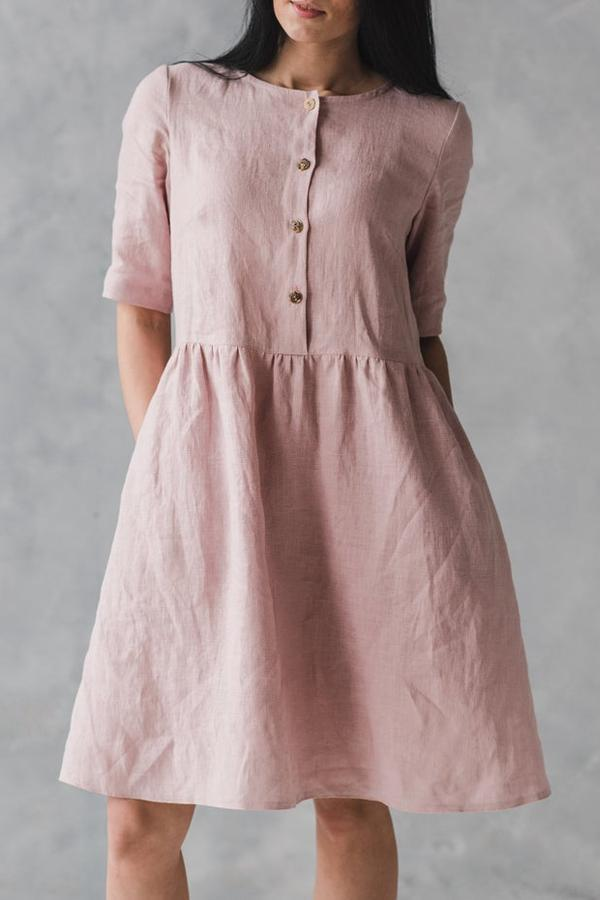 Paneled Buttoned Linen Solid Midi Dress