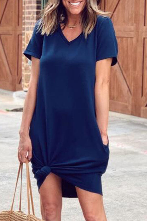 Solid Casual V Neck Short Sleeves Mini Dress