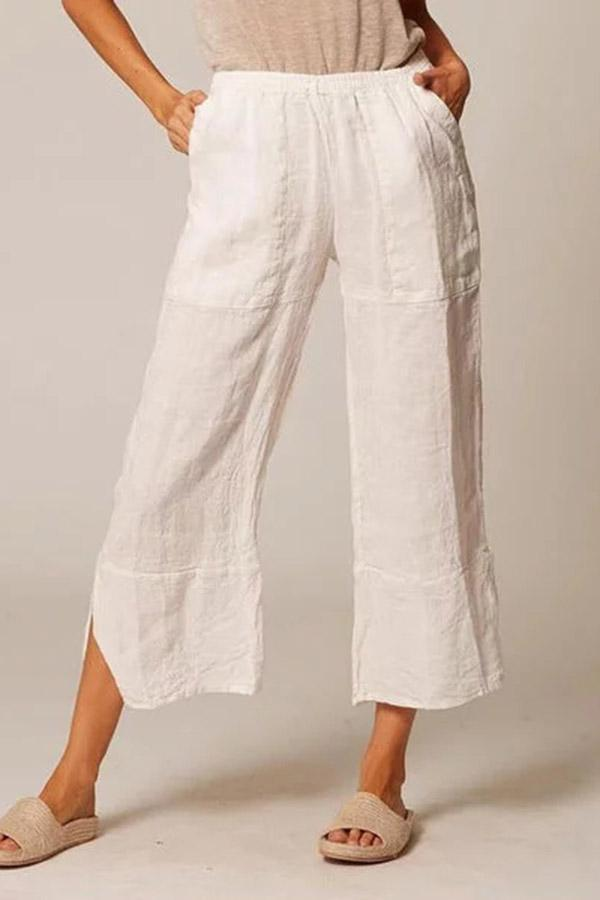 Massive Leinentaschen High Waist Pants
