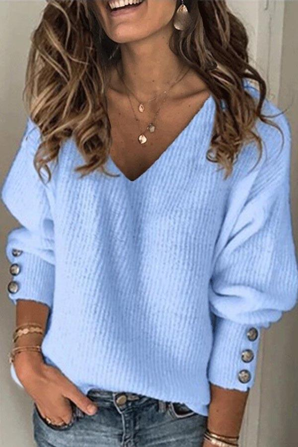 Button Trim Long Sleeves V Neck Solid T-shirt
