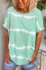 Casual Striped Gradient Print Short Sleeves T-shirt