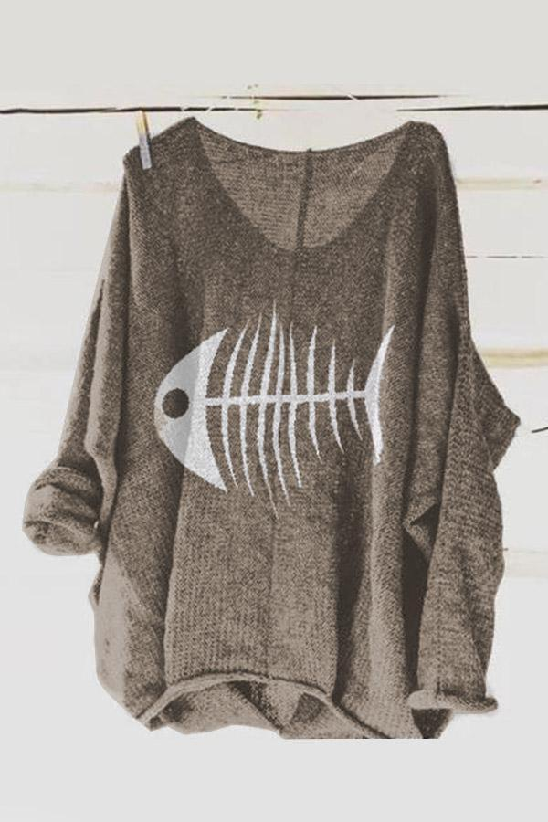 V Neck Long Sleeves Knitted Printed T-Shirts