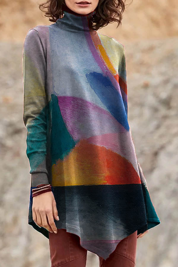 Artistic Abstract Oil Painting Print Irregular Hem Turtle Neck T-shirt