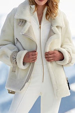 Holiday Solid Fuzzy Self Tie Lapel Zipper Front Collar Pockets Coat