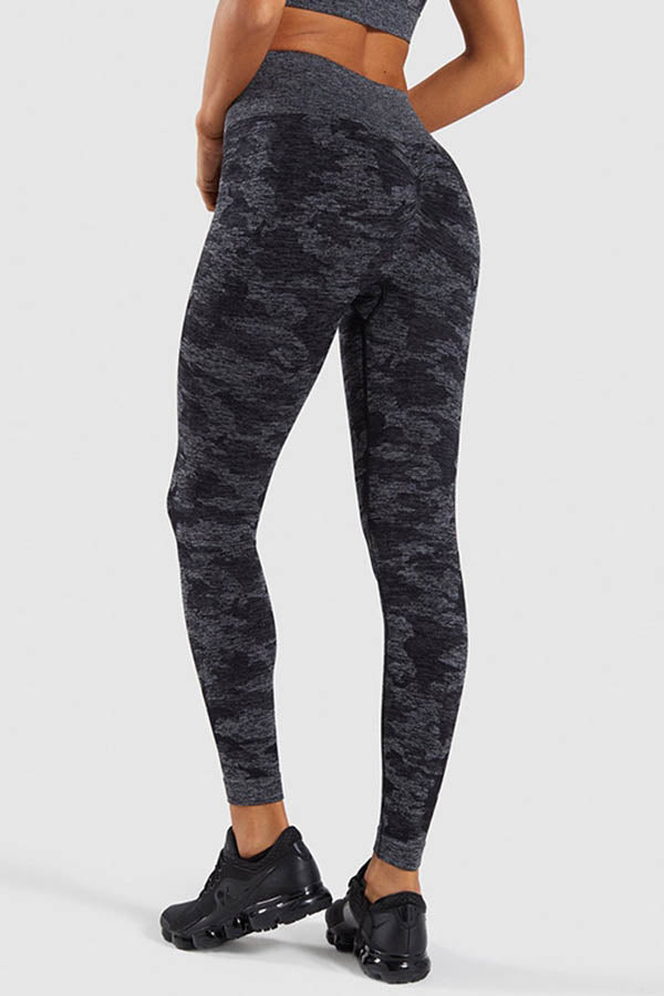 Sports Fitness Camouflage Jacquard High Waist Yoga Leggings