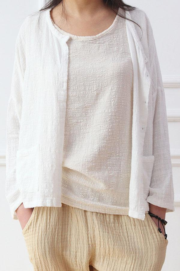 Crew Neck Buttoned Solid Pockets Shift Blouses