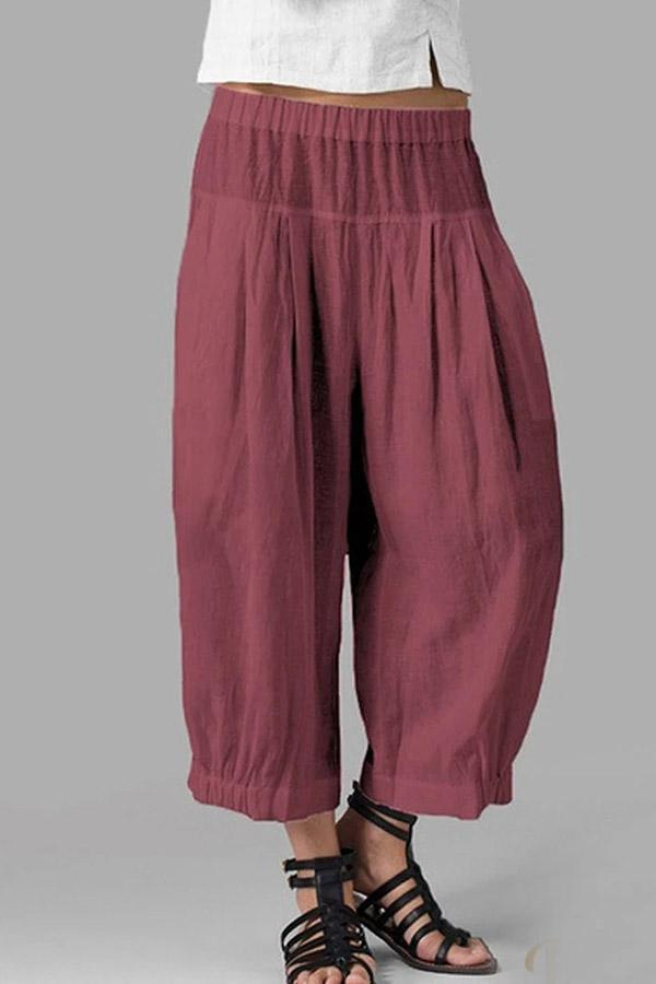 Loose Linen Solid Casual  Pants
