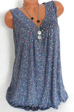 Holiday Floral Print V-neck Sleeveless T-shirt