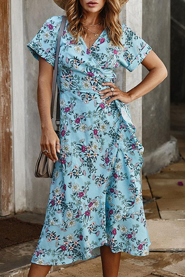 A-line Floral Print V Neck Self-tie Maxi Dress