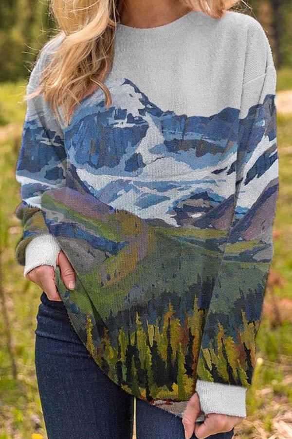 Women Trendy Nature Landscape Vivid Mountain Forest Jacquard T-shirt