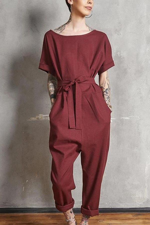 Casual Solid Short Sleeves Jumpsuit with Pockets