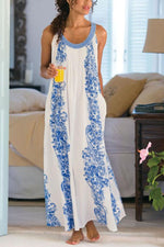Spaghetti Floral Print Paneled Holiday Maxi Dress