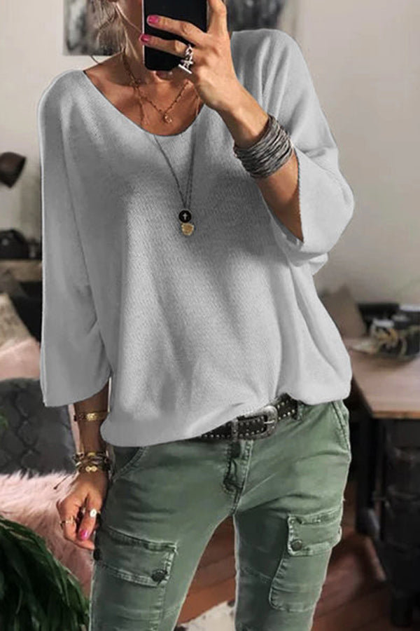 Casual V Neck Solid Long Sleeves T Shirt