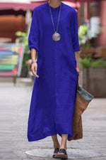Button Down Long Sleeves Maxi Dress