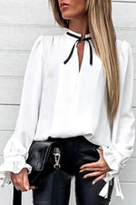 Elegant Solid Paneled Pleated Tie Neck Long Sleeves Blouse