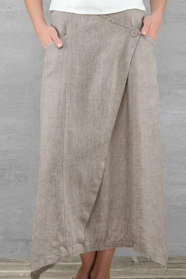 Solid Casual Side Pockets Irregular Skirts