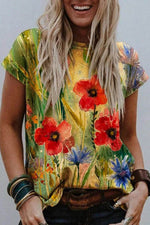 Artistic Floral Gradient Painting Print Shift T-shirt