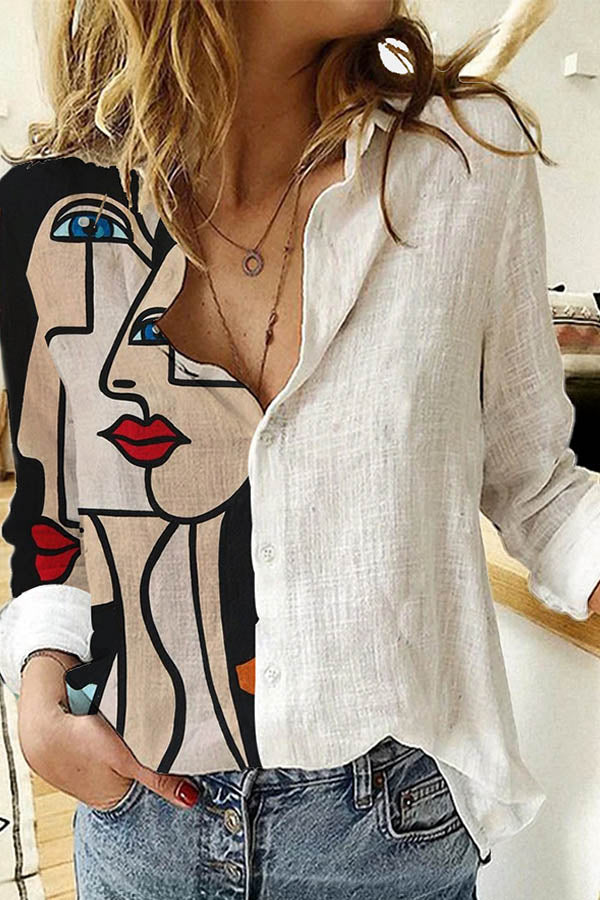 Color-block Abstract Women Character Print Buttoned Blouse