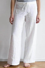 Women Simple Classic Solid Self-tie Wide Leg Pants