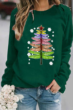 Gradient Colorful Dragonfly Christmas Tree Print Snowflake Festival T-shirt