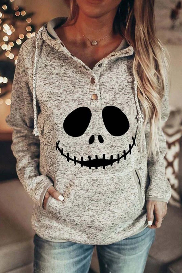 Ghost Face Print Halloween Buttoned Drawstring Holiday Hoodie