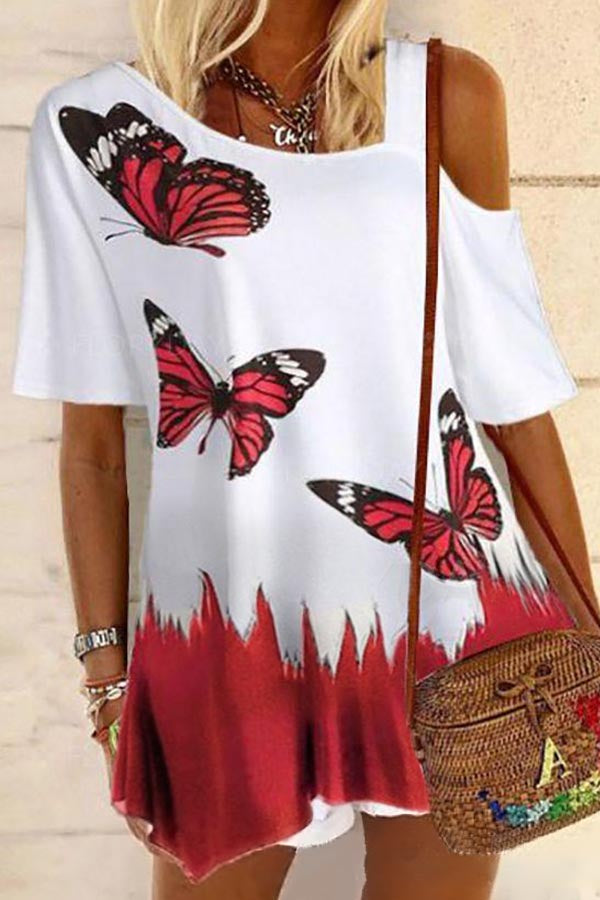 Asymmetric Cold Shoulder Butterfly Print Casual T-shirt