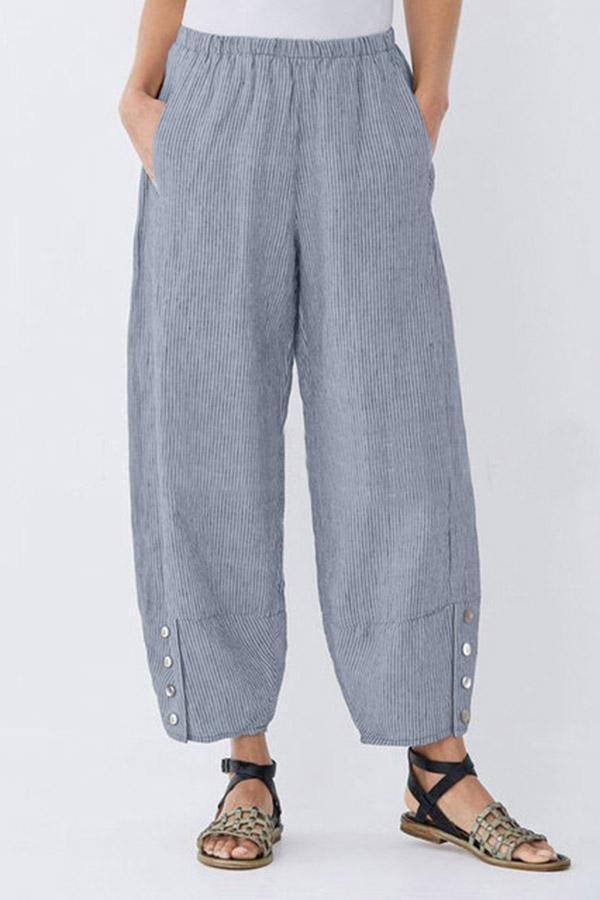 Striped Buttoned Casual Linen Pockets Pants