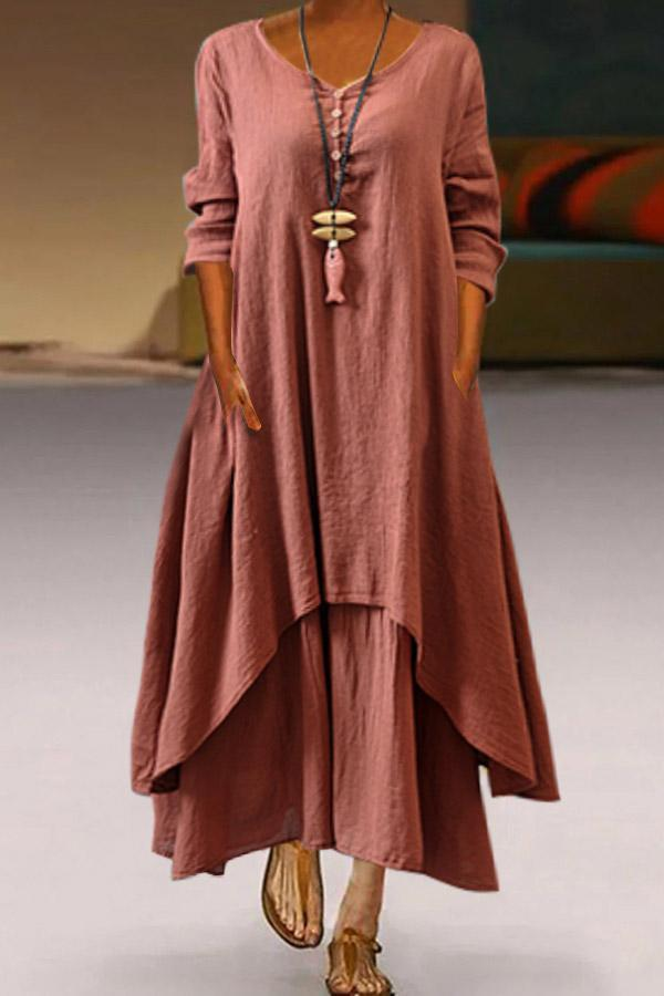 Long Sleeves Linen Casual  Paneled Maxi Dress