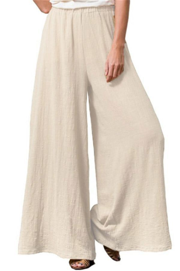 Linen Solid Wide Leg Pants