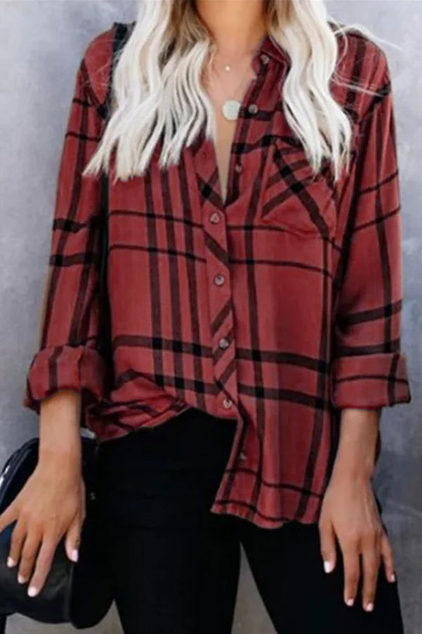 Casual Plaid Print getäfelte Knöpfe Down Side Pocket Bluse