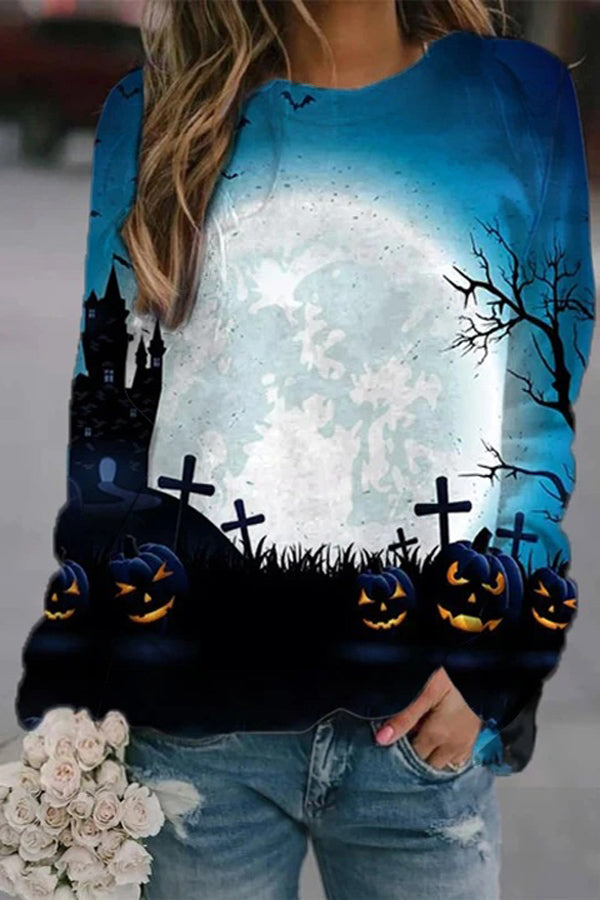 Lifelike Moon Bat Ancient Castle Grave Smile Face Pumpkin Halloween Sweatshirt