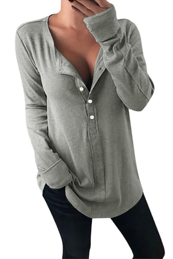 Solid V-neck Buttoned Casual Blouse