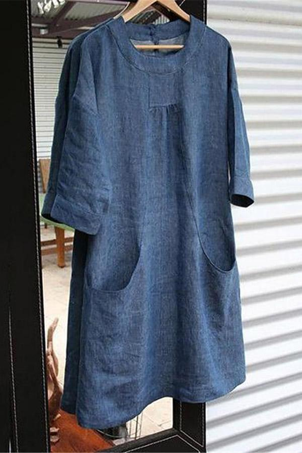Solid Pocket Crew Neck Linen Mini Dress
