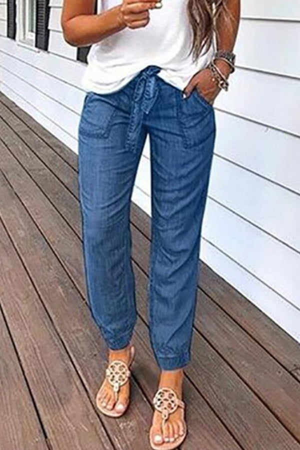 Solid Paneled Side Pockets Folds Casual Self-tie Jeans