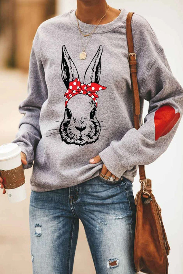 Hand Painting Rabbit With Bow Headwear Heart Print Crew Neck Woman Casual T-shirt
