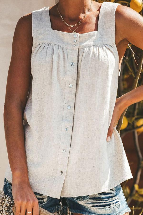 Linen Sleeveless Square Neck Tank Top