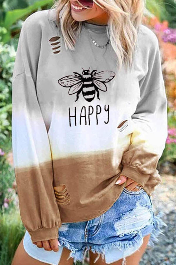 Happy Letter Lifelike Bee Gradient Print Street Cutout T-shirt
