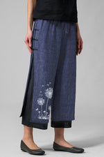 Floral Printed Frog Button Linen Self-tie Pants
