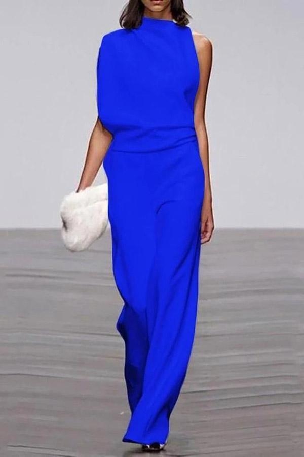 Elegant Sleeveless Wide Leg Solid Jumpsuits