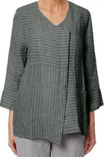 Striped Long Sleeves Linen T-shirts