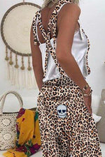 Casual Print Tie-up Backless Jumpsuit