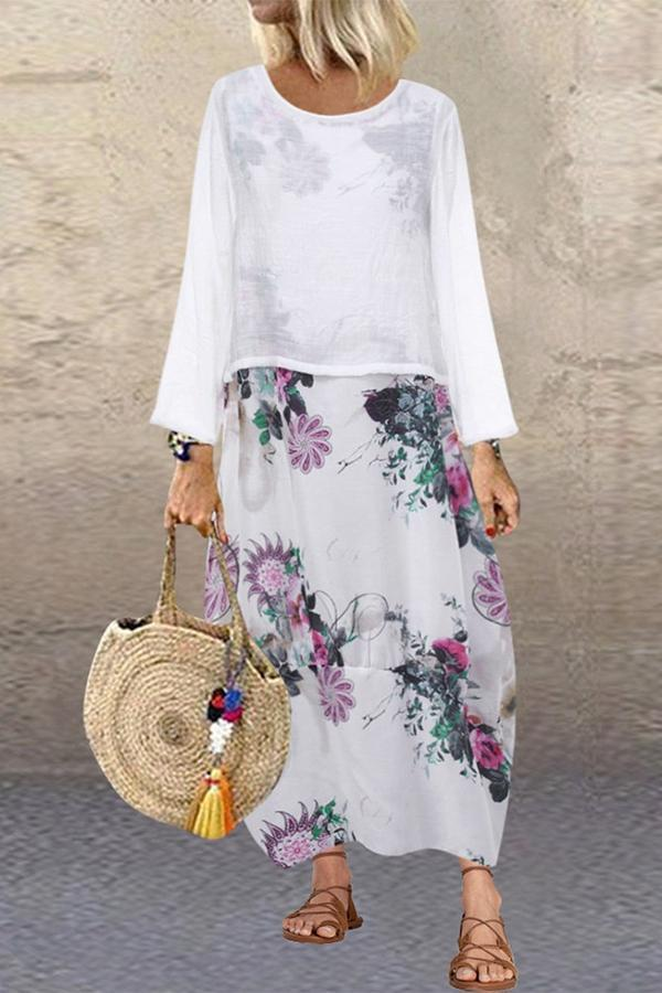 Bohemian Floral Print Two Piece Maxi Dress