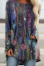 Bohemian Floral Gradient Print Raglan Sleeves Shift T-shirt