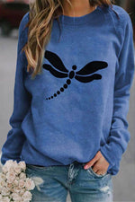 Basic Dragonfly Print Paneled Crew Neck Sweatshirt