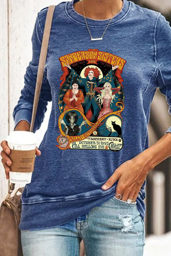 Happy Halloween Witch Black Cat Print Party T-shirt