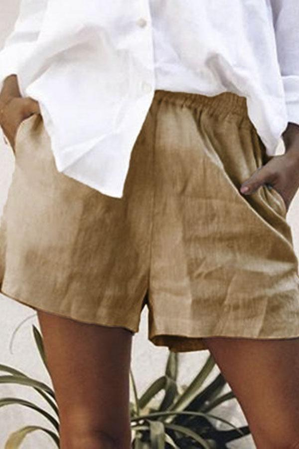 Pockets Solid Summer Casual Linen Short Pants